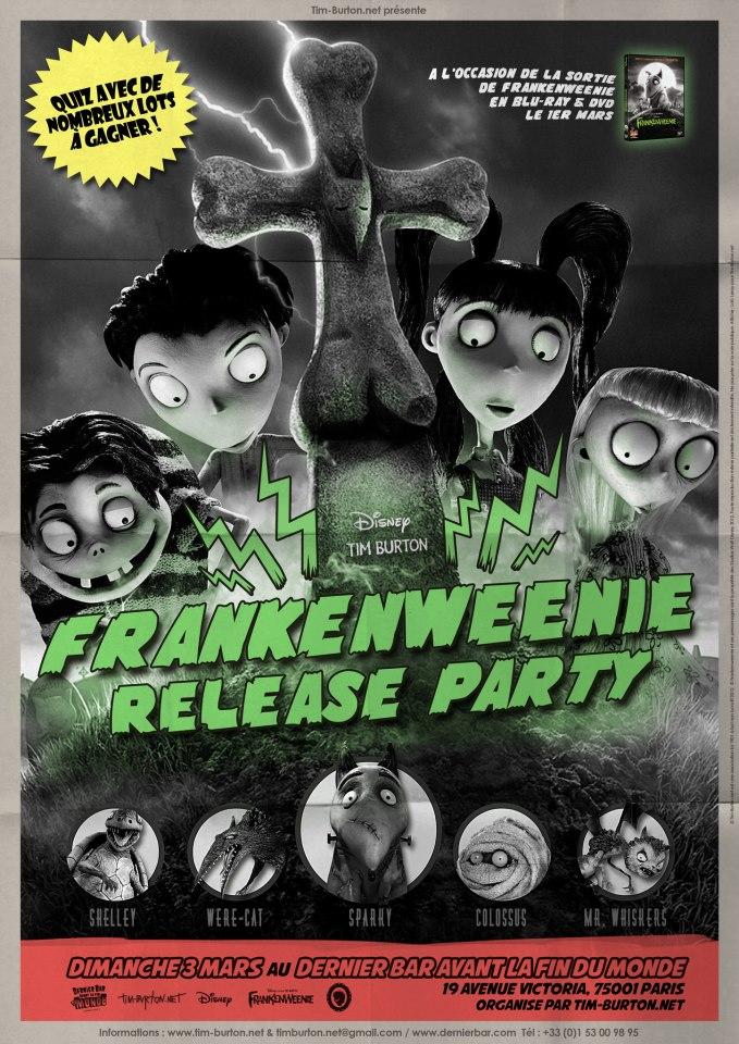 Une Release Party Frankenweenie Le 3 Mars Au Dernier Bar Avant La Fin Du Monde Paris Tim Burton Net
